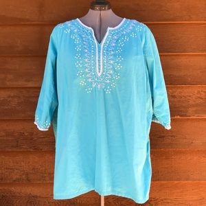Woman Within | Teal Embroider sequin Blouse